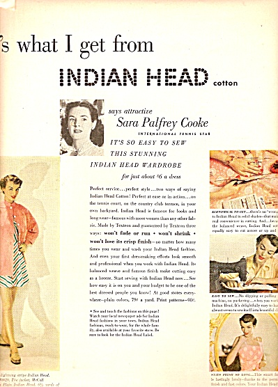Indian Head cotton ad 1950 (Image1)
