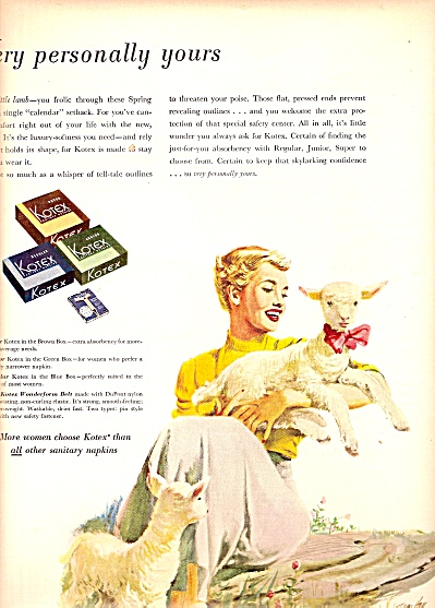 Kotex napkins ad 1950 Lady and her Lamb (Image1)