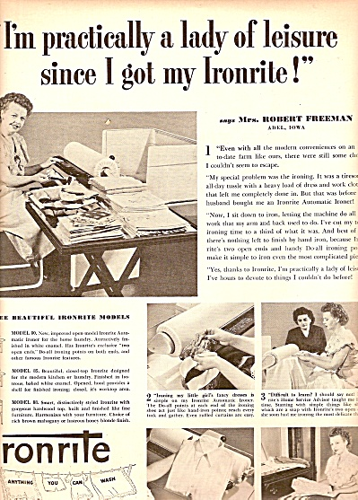 Ironrite Models ad 1950 (Image1)