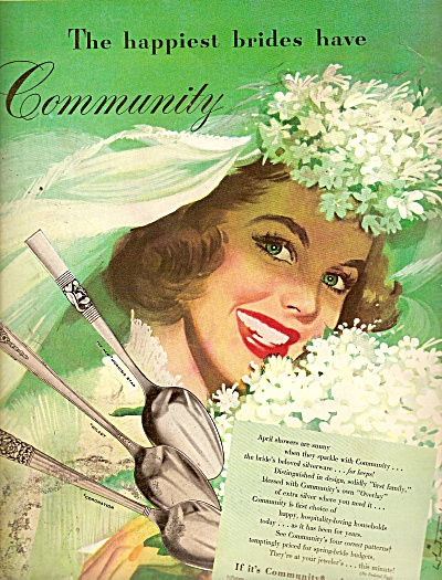 Community Silverware Ad 1948 Art Work Illustrated