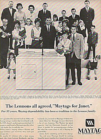 Maytag washer - THE LENNON FAMILY  ad (Image1)