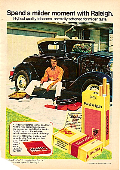 Raleigh cigarettes ad 1972 OLD TIME CAR (Image1)