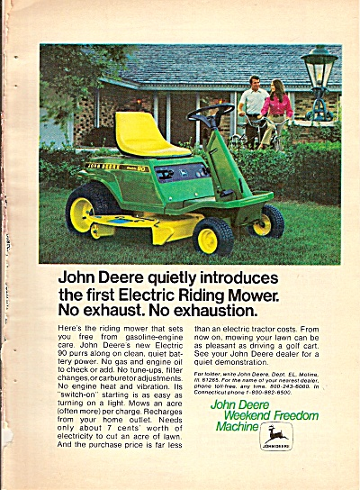 Johndeere Electric Riding Mower Ad 1972