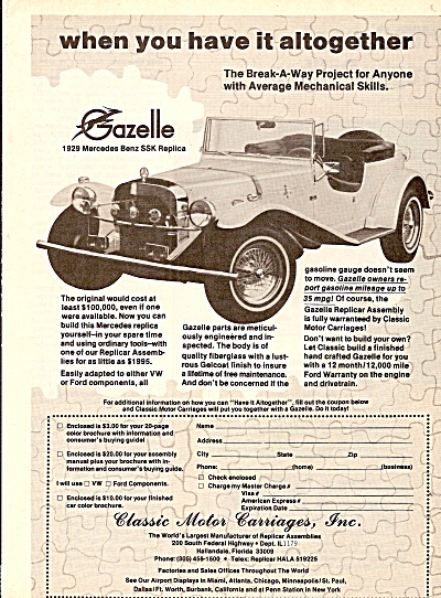 Classic Motor Carriages, Inc;. Ad 1979