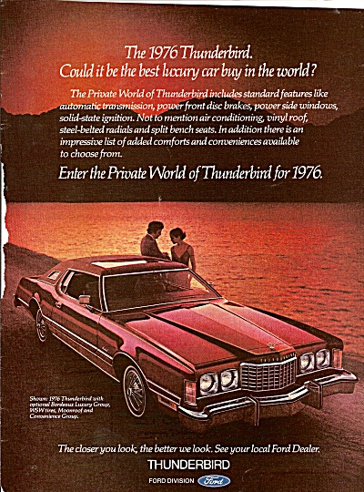 Ford Thunderbird ad 1976 T BIRD CAR (Image1)
