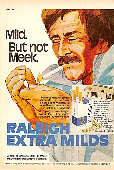 Raleigh extra milds ad 1975 (Image1)