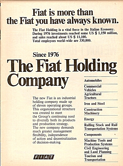The Fiat Holding Company Ad 1977