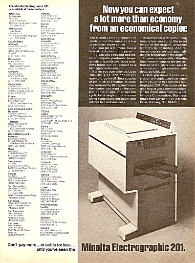 Minolta Electrographic 201 copier ad 1977 (Image1)