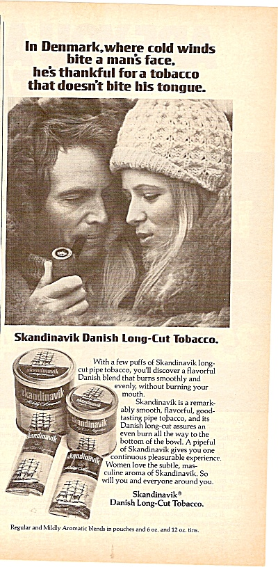 Skandinavik Danish long cut tobacco ad 1977 (Image1)