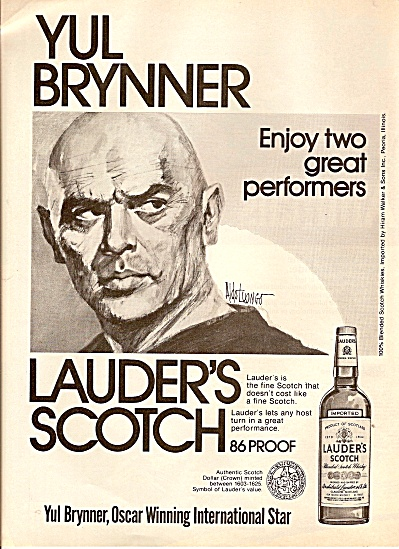 Lauder's scotch =- YUL BRYNNER  ad 1976 (Image1)