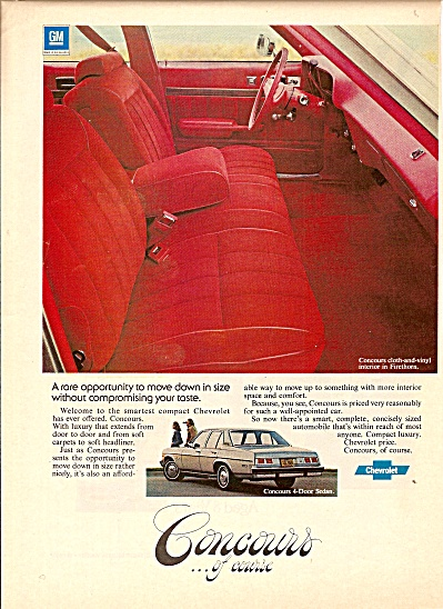 Chevrolet of concours cloth and vinyl interior  ad 1976 (Image1)