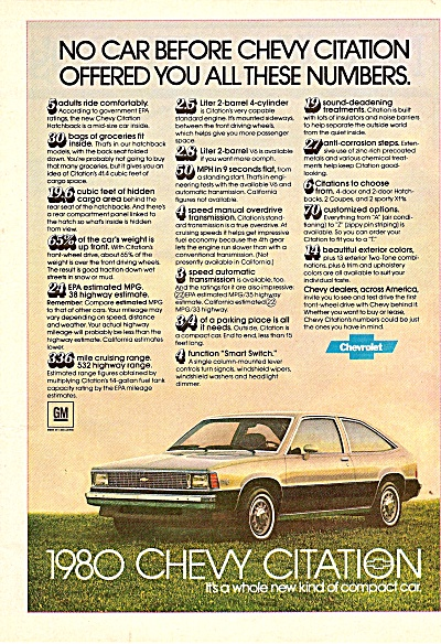 1980 Chevrolet Citation Ad 1979