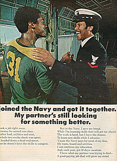 Navy recruiting ad 1977 African American PARTNER  (Image1)