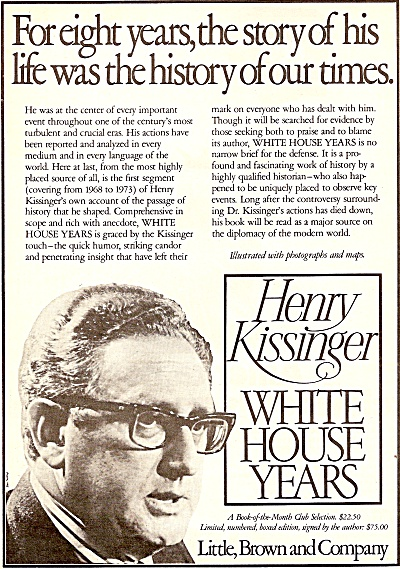 HENRY KISSINGER - white house years book 1979 AD (Image1)