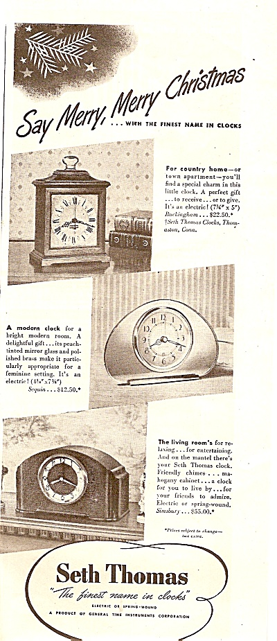 Seth Thomas Clocks Ad 1947