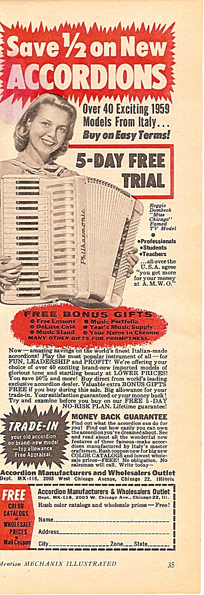 Accordians For Sale Ad 1958