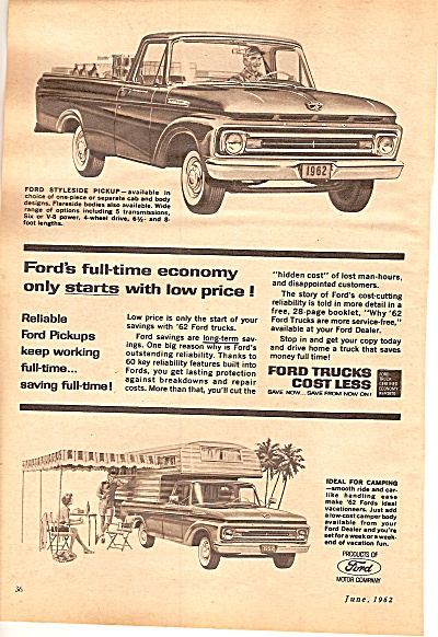 Ford Trucks ad 1962 ECONOMY WITH LOW PRICES (Image1)