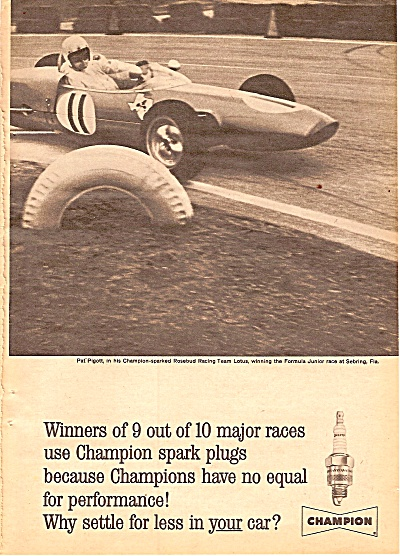 Champion Spark Plugs Ad 1962 Pat Pigott Racing