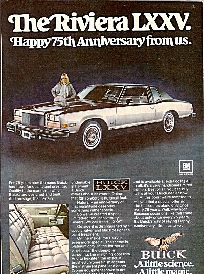 Buick Riviera LXXV ad 1978 (Image1)