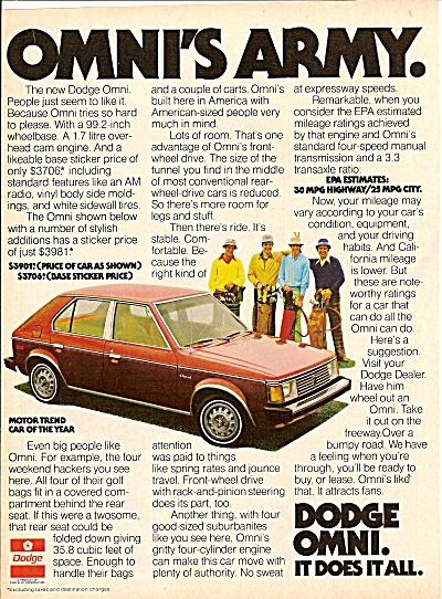Dodge Omni auto ad 1978 (Image1)