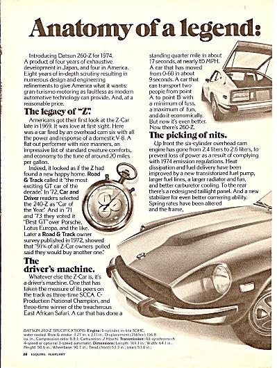 Datsun auto ad 260-=Z - 1974 (Image1)