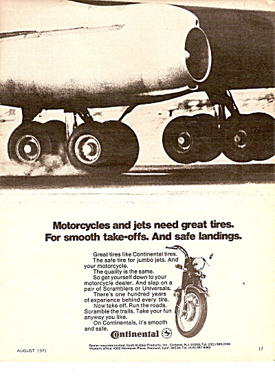 Continental Tires Ad 1971