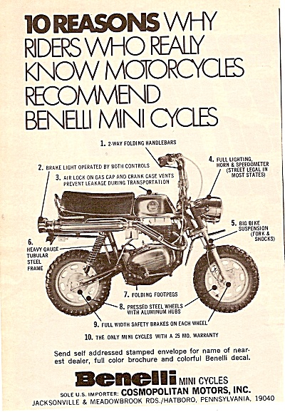 Benelli mini cycles ad 1971 (Image1)