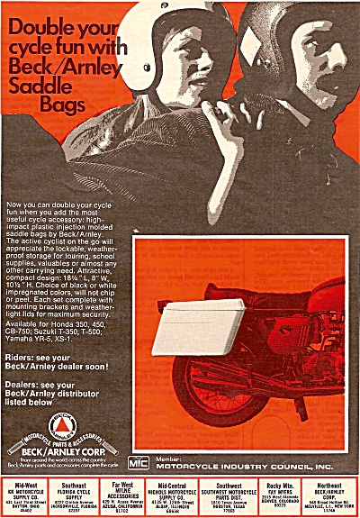 Beck Arnley Saddle Bags Ad 1971