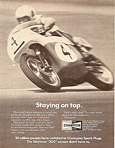 Champion Spark Plugs Ad 1971 Daytona Winner