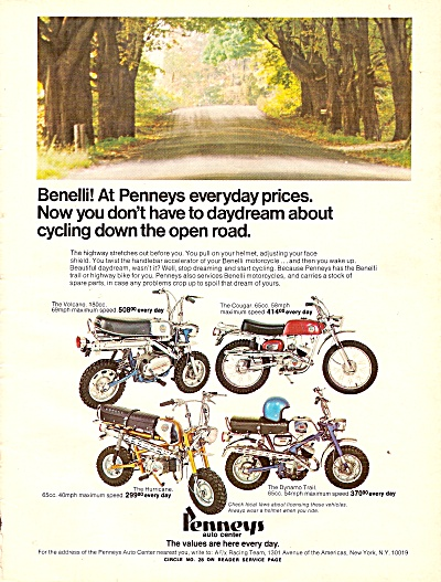 Benelli-  Penneys autocenter ad 1971 (Image1)