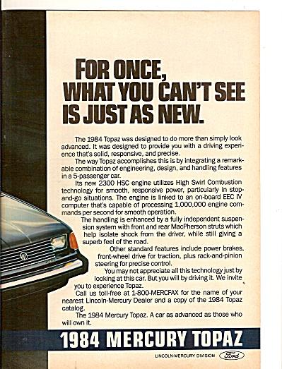1984 Mercury Topaz auto ad (Image1)