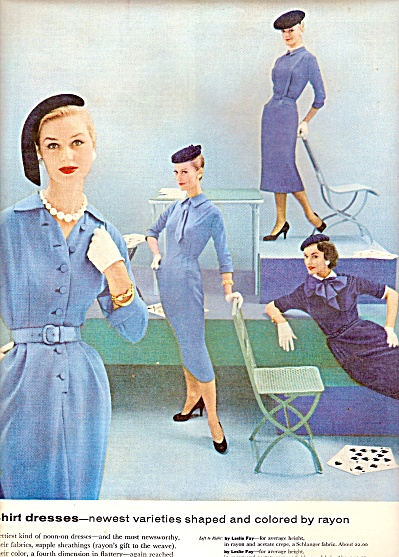 1955 AD Vintage Leslie Fay FASHIONS ~ Fashion MODELS AD (Image1)