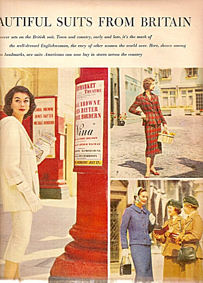 1955 AD 2pg FASHION MODELS ~ Fashions Suits Britain  (Image1)