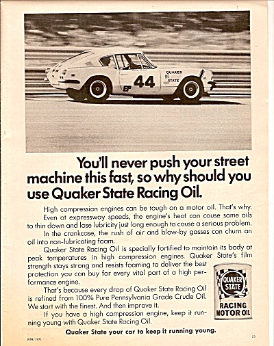 Quaker State Racing Motor oil ad 1971 (Image1)