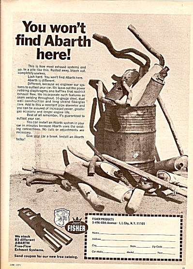 Fisher products -exhaust systems ad 1971 (Image1)
