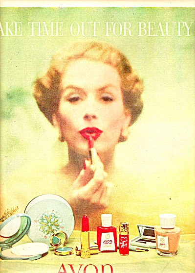 Avon Cosmetics ad 1955 TIME OUT FOR BEAUTY (Image1)