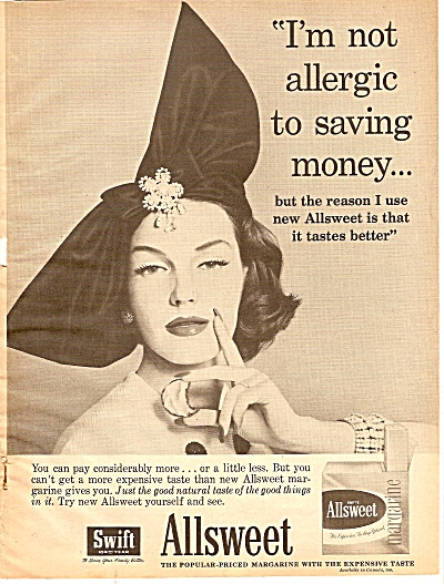 Swift Allsweet Margarine Ad 1959