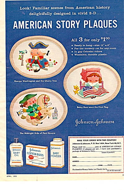 American Story Plaques - Johnson & Johnson ad 1959 (Image1)