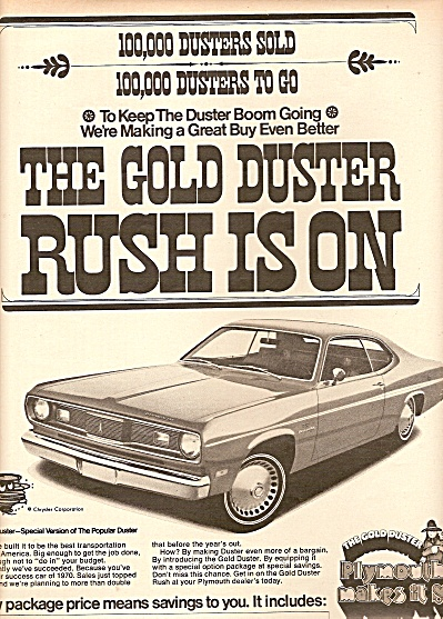 Plymouth Gold Duster auto ad 1970 (Image1)