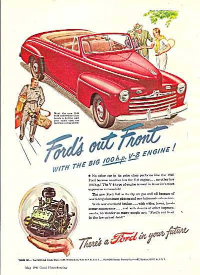 Ford Motor Car Ad 1946 Red Convertible