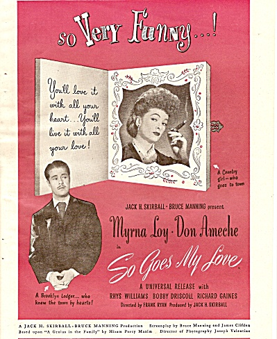 Movie AD:  SO GOES MY LOVE - DON AMECHE, MYRNA LOY 1946 (Image1)