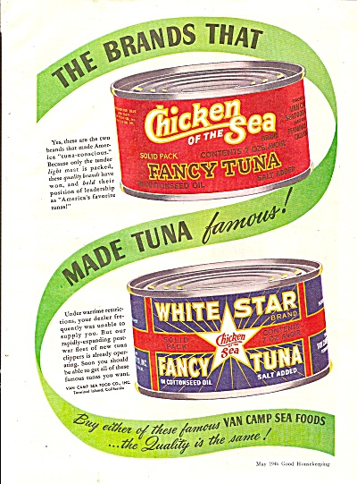 Chicken Of The Sea Tuna - White Star Tuna Ad 1946