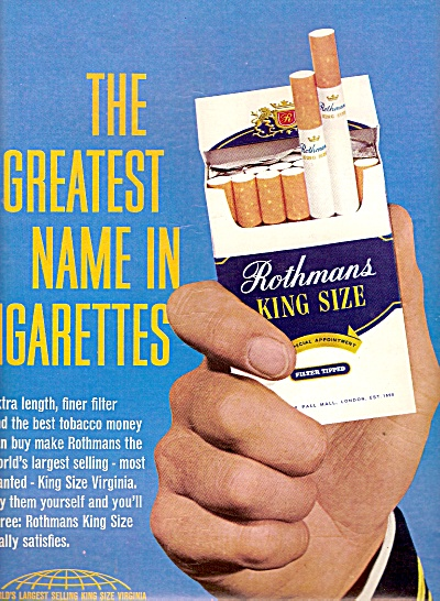 Rothman's king size cigarettes ad 1967 (Image1)