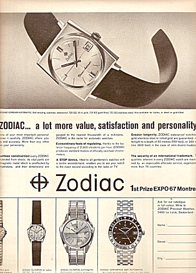 'Zodiac  precision watches ads 1967 (Image1)