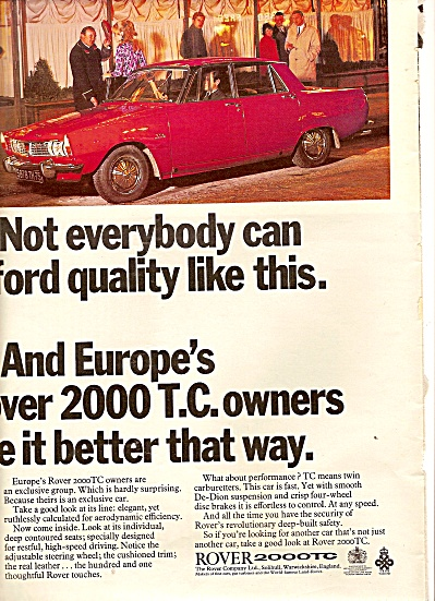 Rover 2000TC auto ad 1967 (Image1)