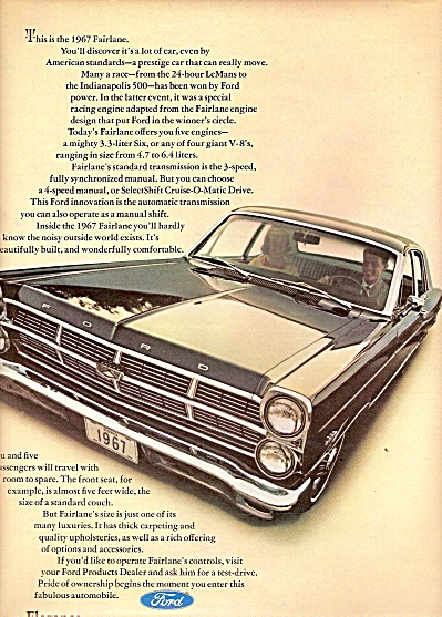 Ford Fairlane Ad 1967