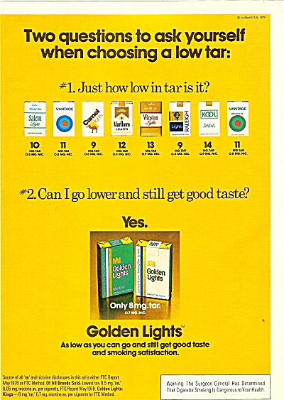 Golden Lights cigarettes ad 1979 (Image1)