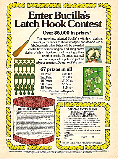 Bucilla Latch Hook Contest Ad 1977