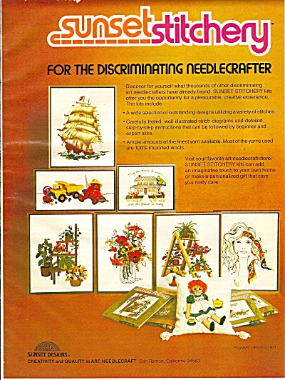 Sunset stitchery ad 1977 (Image1)