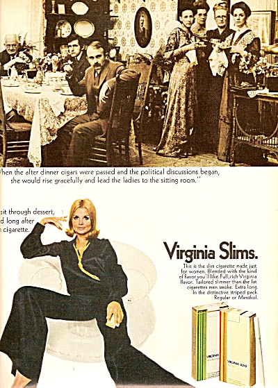 Virginia Slims cigarettes ad 1969 BARBARA LEVY (Image1)